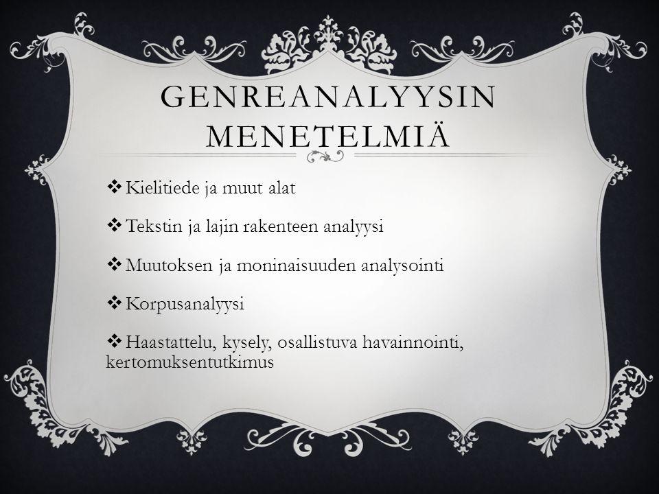 GENREANALYYSIN MENETELMIÄ