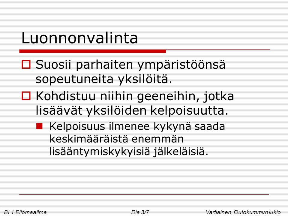 Luonnonvalinta Suosii parhaiten ympäristöönsä sopeutuneita yksilöitä.
