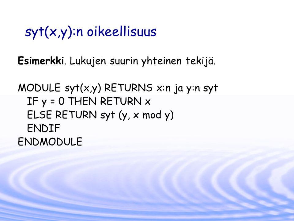 syt(x,y):n oikeellisuus