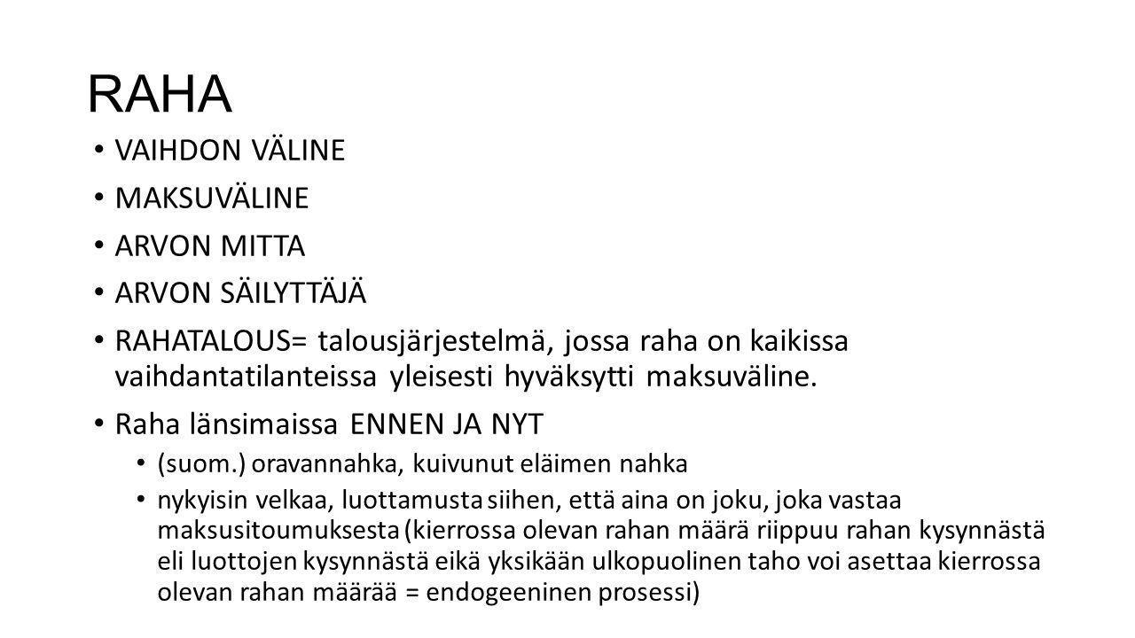 RAHA VAIHDON VÄLINE MAKSUVÄLINE ARVON MITTA ARVON SÄILYTTÄJÄ