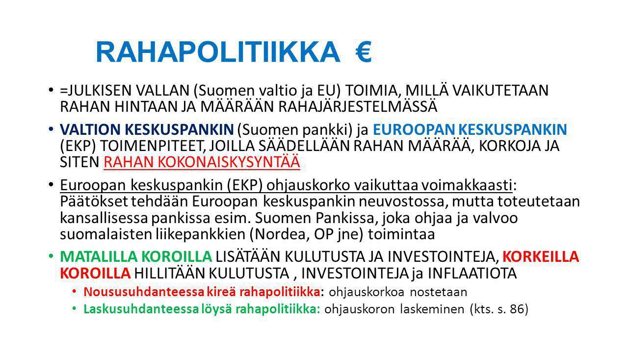 RAHAPOLITIIKKA € =JULKISEN VALLAN (Suomen valtio ja EU) TOIMIA, MILLÄ VAIKUTETAAN RAHAN HINTAAN JA MÄÄRÄÄN RAHAJÄRJESTELMÄSSÄ.
