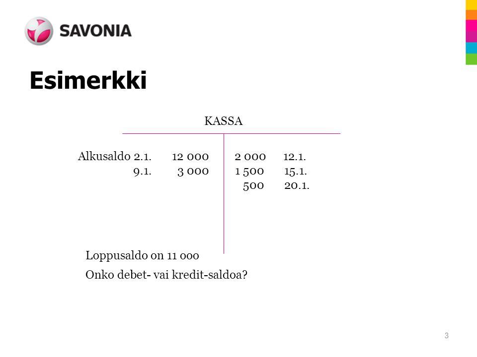 Esimerkki KASSA Alkusaldo 2.1. 12 000 2 000 12.1.