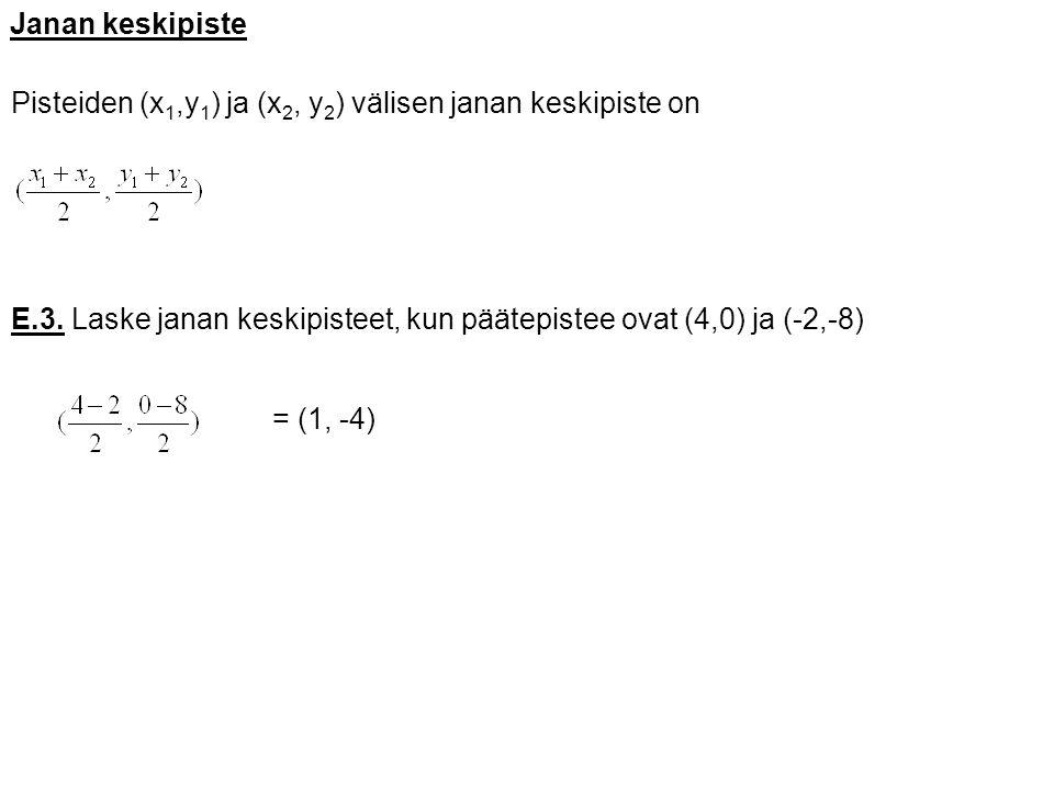 Janan keskipiste Pisteiden (x1,y1) ja (x2, y2) välisen janan keskipiste on. E.3. Laske janan keskipisteet, kun päätepistee ovat (4,0) ja (-2,-8)