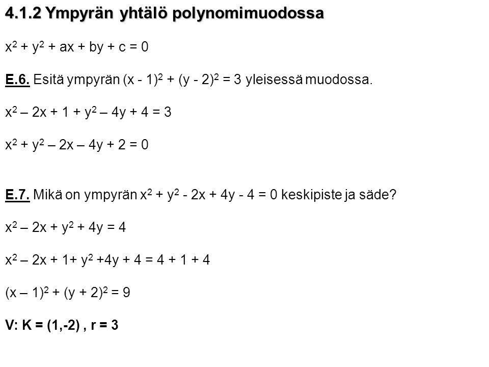 4.1.2 Ympyrän yhtälö polynomimuodossa