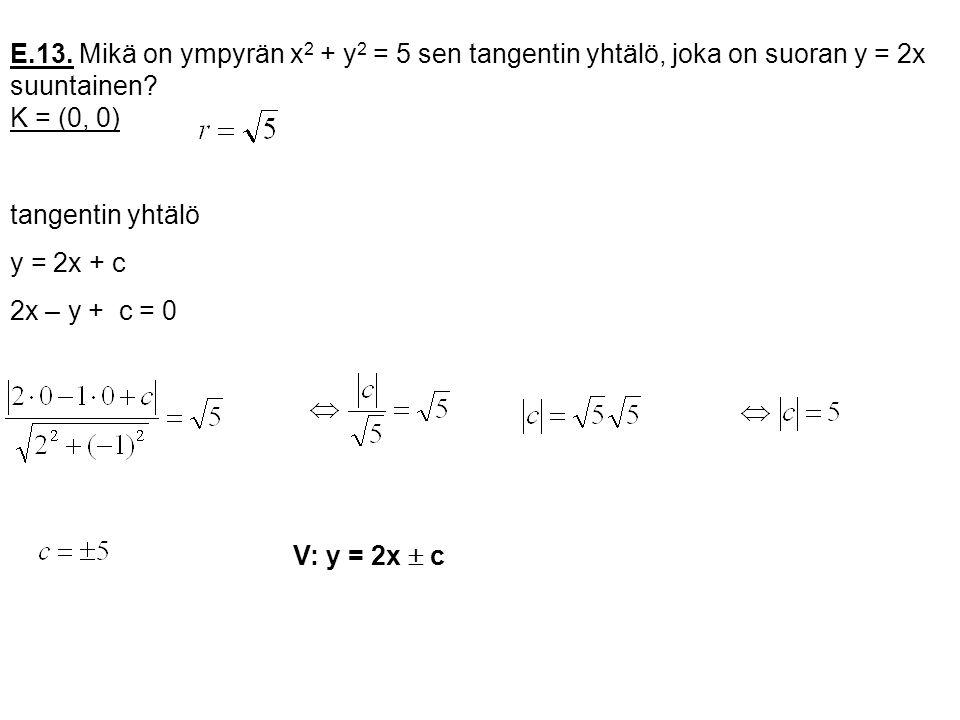 E.13. Mikä on ympyrän x2 + y2 = 5 sen tangentin yhtälö, joka on suoran y = 2x