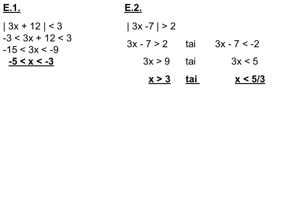 E.1. E.2. | 3x + 12 | < 3. -3 < 3x + 12 < 3. -15 < 3x < -9. -5 < x < -3. | 3x -7 | > 2. 3x - 7 > 2 tai 3x - 7 < -2.