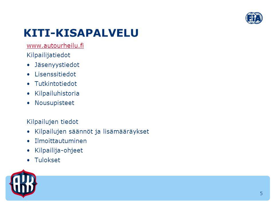 KITI-KISAPALVELU www.autourheilu.fi Kilpailijatiedot Jäsenyystiedot