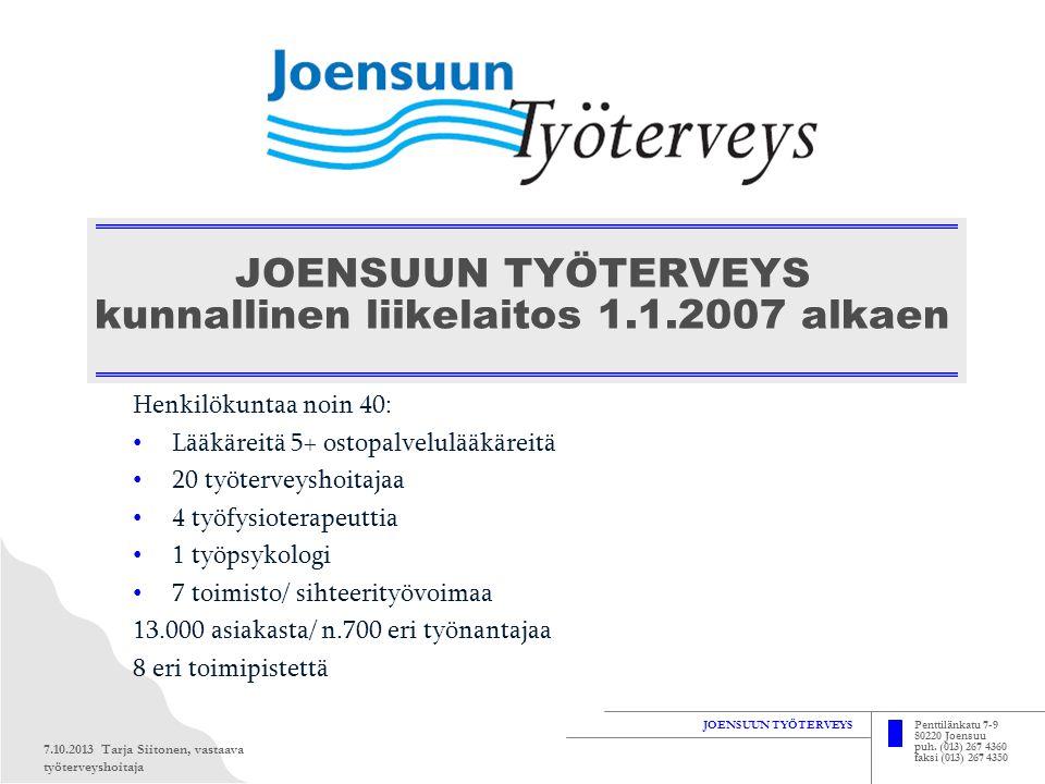 JOENSUUN TYÖTERVEYS kunnallinen liikelaitos 1.1.2007 alkaen