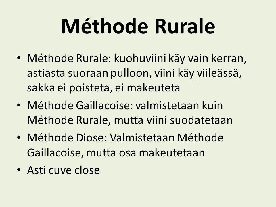 Méthode Rurale Méthode Rurale: kuohuviini käy vain kerran, astiasta suoraan pulloon, viini käy viileässä, sakka ei poisteta, ei makeuteta.