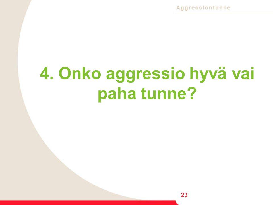 4. Onko aggressio hyvä vai paha tunne