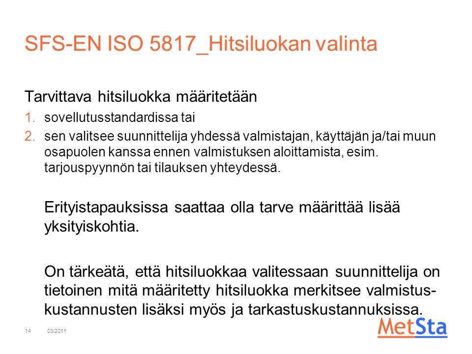 SFS-EN ISO 5817_Hitsiluokan valinta