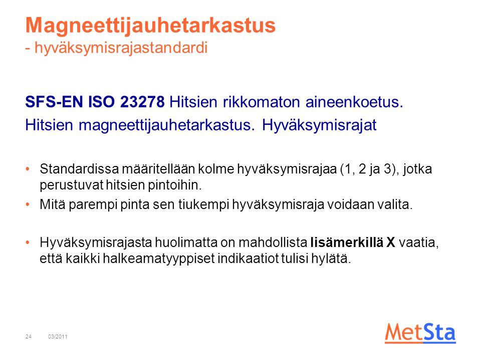 Magneettijauhetarkastus - hyväksymisrajastandardi