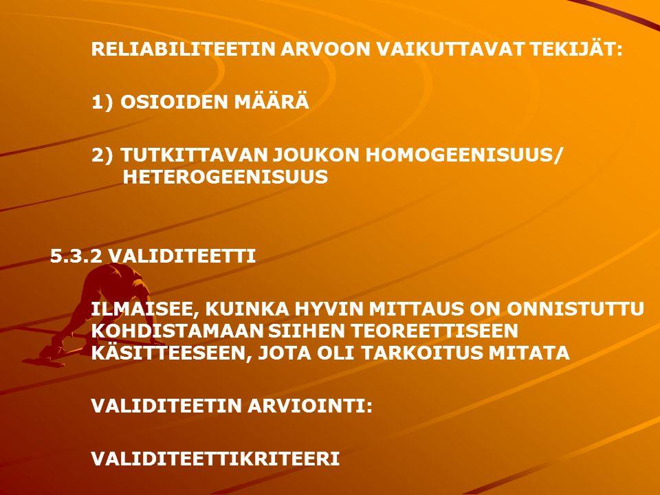 RELIABILITEETIN ARVOON VAIKUTTAVAT TEKIJÄT: