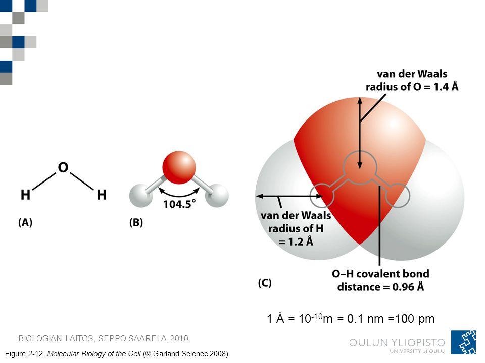 1 Å = 10-10m = 0.1 nm =100 pm BIOLOGIAN LAITOS, SEPPO SAARELA, 2010