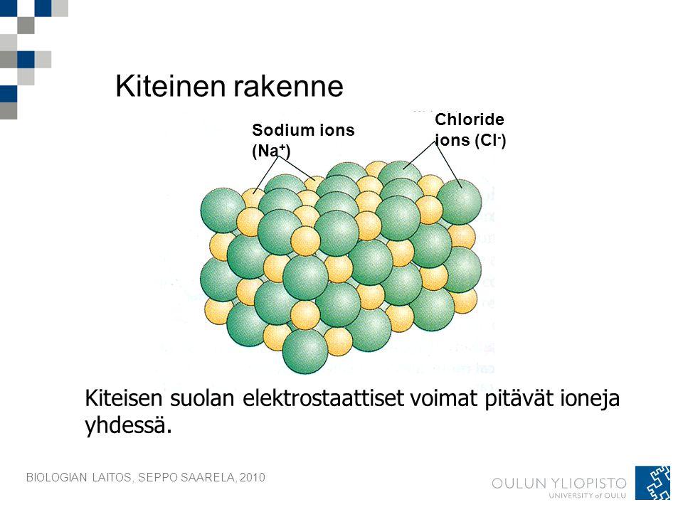 Kiteinen rakenne Chloride. ions (Cl-) Sodium ions. (Na+) Kiteisen suolan elektrostaattiset voimat pitävät ioneja yhdessä.