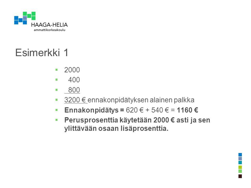 Esimerkki 1 2000 400 800 3200 € ennakonpidätyksen alainen palkka