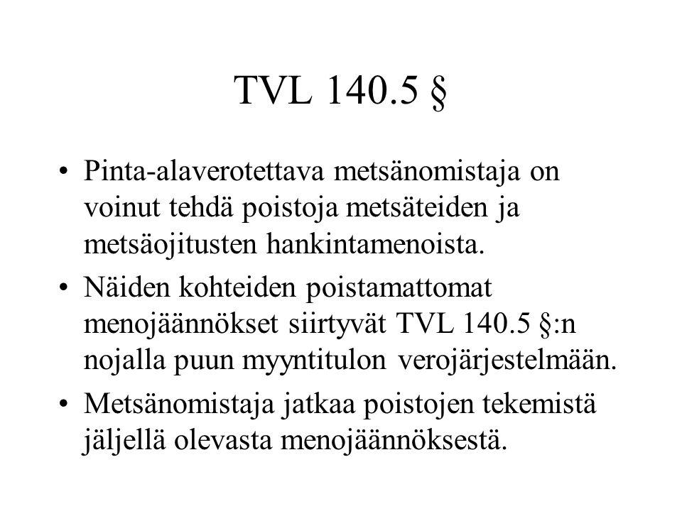 TVL 140.5 § Pinta-alaverotettava metsänomistaja on voinut tehdä poistoja metsäteiden ja metsäojitusten hankintamenoista.