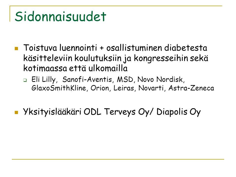 Sidonnaisuudet Toistuva luennointi + osallistuminen diabetesta käsitteleviin koulutuksiin ja kongresseihin sekä kotimaassa että ulkomailla.