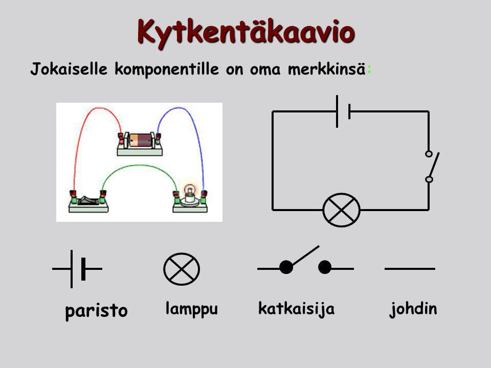 Kytkentäkaavio paristo Jokaiselle komponentille on oma merkkinsä: