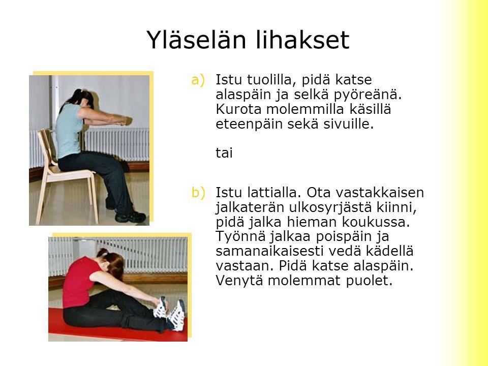Yläselän lihakset Istu tuolilla, pidä katse alaspäin ja selkä pyöreänä. Kurota molemmilla käsillä eteenpäin sekä sivuille. tai.