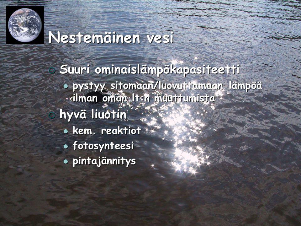 Nestemäinen vesi Suuri ominaislämpökapasiteetti hyvä liuotin