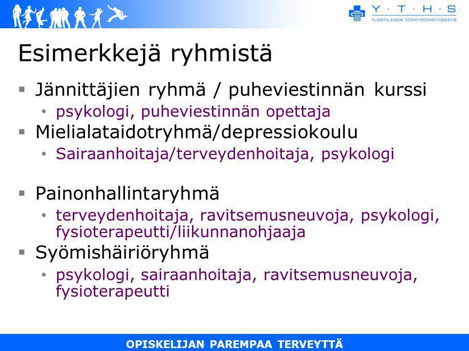 Esimerkkejä ryhmistä Jännittäjien ryhmä / puheviestinnän kurssi
