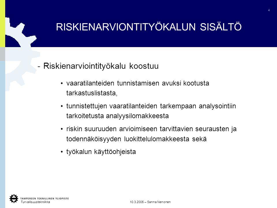 RISKIENARVIONTITYÖKALUN SISÄLTÖ