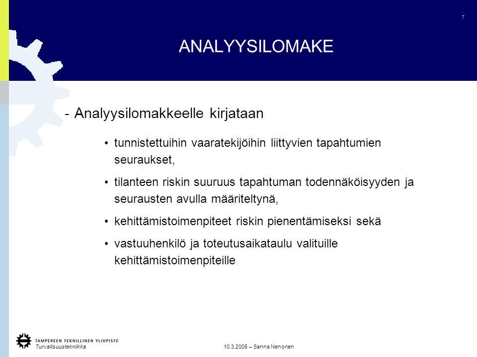 ANALYYSILOMAKE Analyysilomakkeelle kirjataan