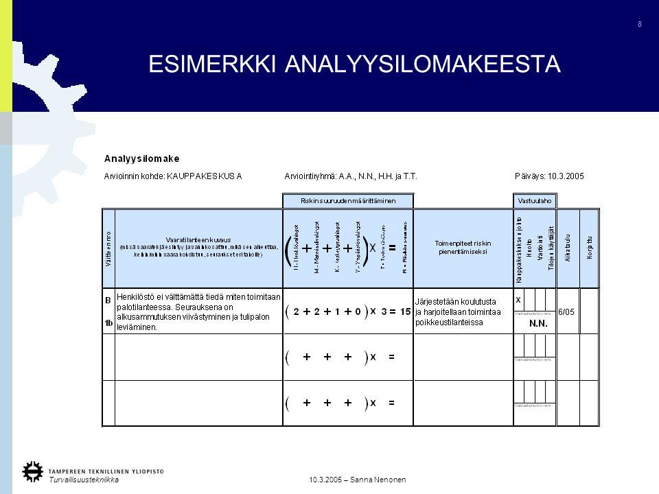 ESIMERKKI ANALYYSILOMAKEESTA