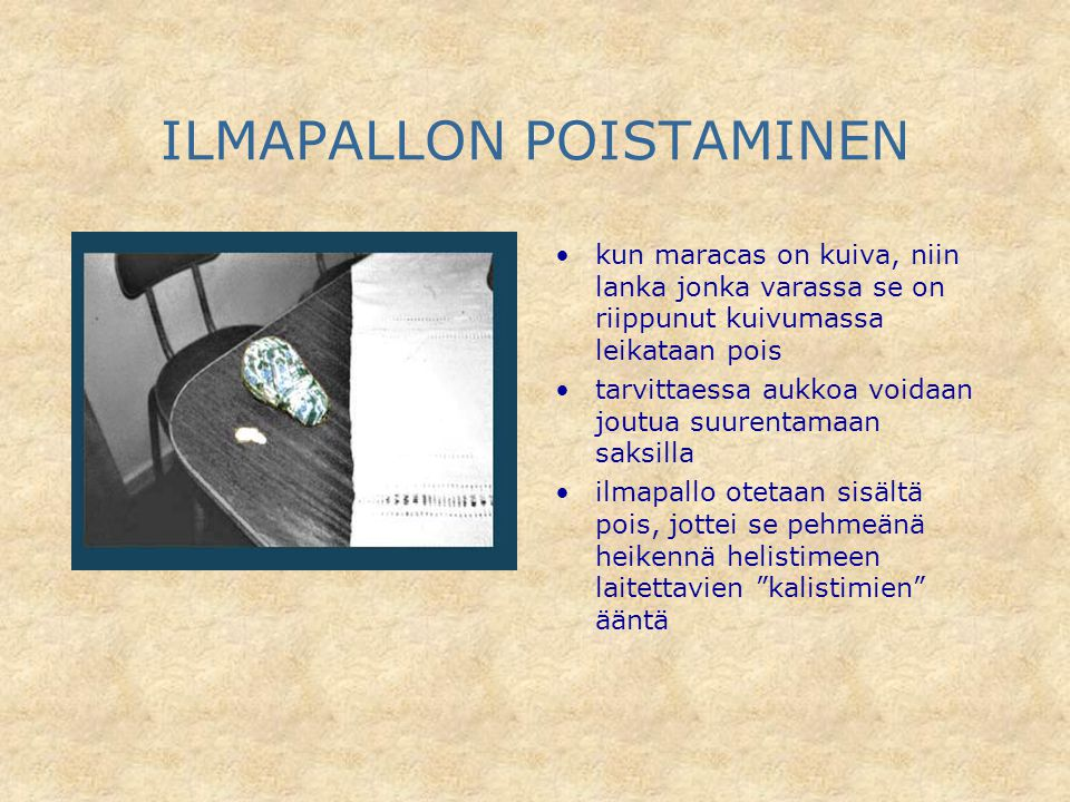 ILMAPALLON POISTAMINEN
