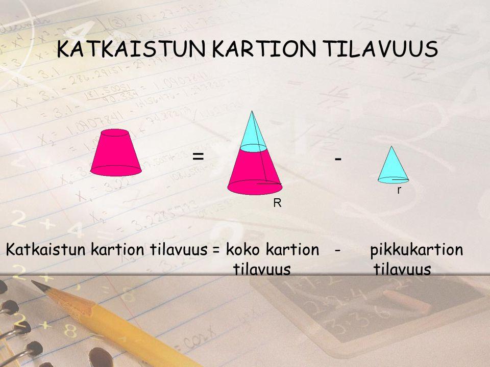 KATKAISTUN KARTION TILAVUUS