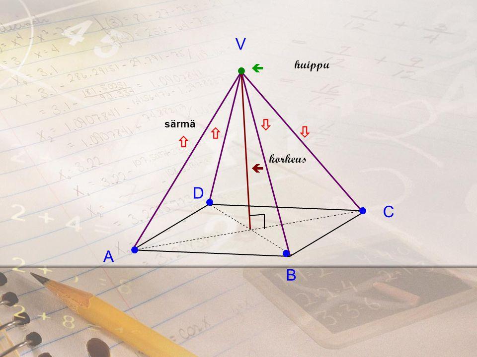 V  huippu  särmä  korkeus   A B C D