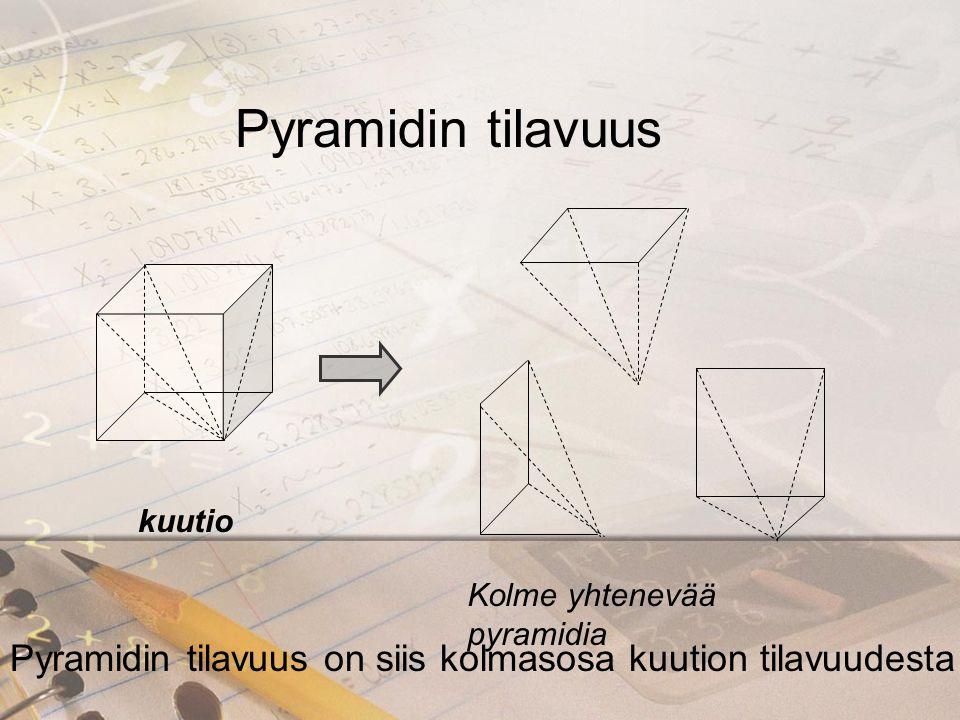 Pyramidin tilavuus kuutio. Kolme yhtenevää pyramidia.