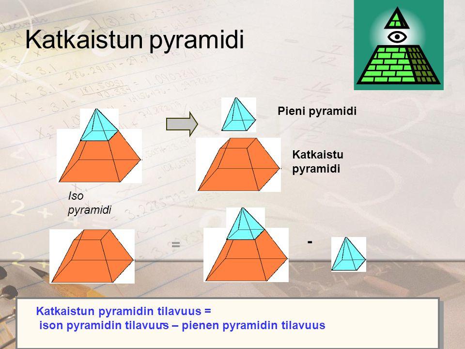 Katkaistun pyramidi - = Pieni pyramidi Katkaistu pyramidi Iso pyramidi