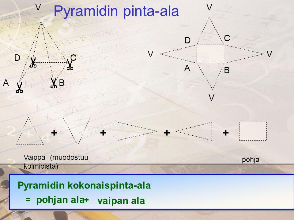 Pyramidin pinta-ala + Pyramidin kokonaispinta-ala pohjan ala