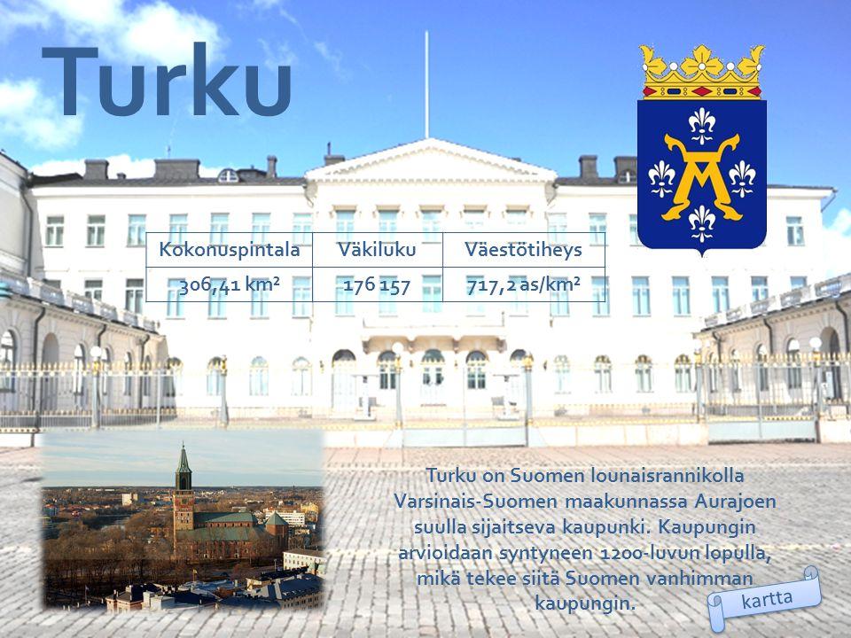 Turku Kokonuspintala Väkiluku Väestötiheys 306,41 km² 176 157