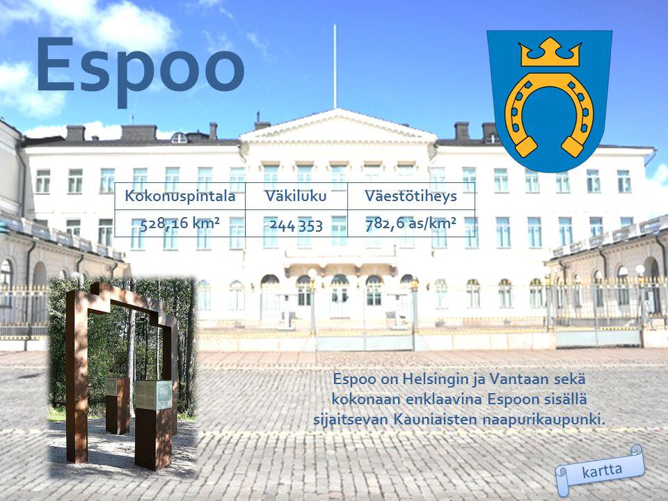 Espoo Kokonuspintala Väkiluku Väestötiheys 528,16 km² 244 353