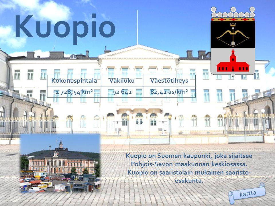 Kuopio Kokonuspintala Väkiluku Väestötiheys 1 728,54 km² 92 642