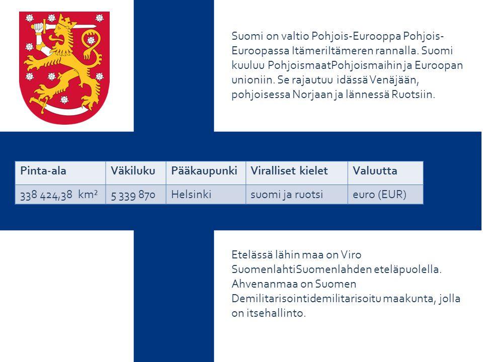 Suomi on valtio Pohjois-Eurooppa Pohjois-Euroopassa ItämeriItämeren rannalla. Suomi kuuluu PohjoismaatPohjoismaihin ja Euroopan unioniin. Se rajautuu idässä Venäjään, pohjoisessa Norjaan ja lännessä Ruotsiin.
