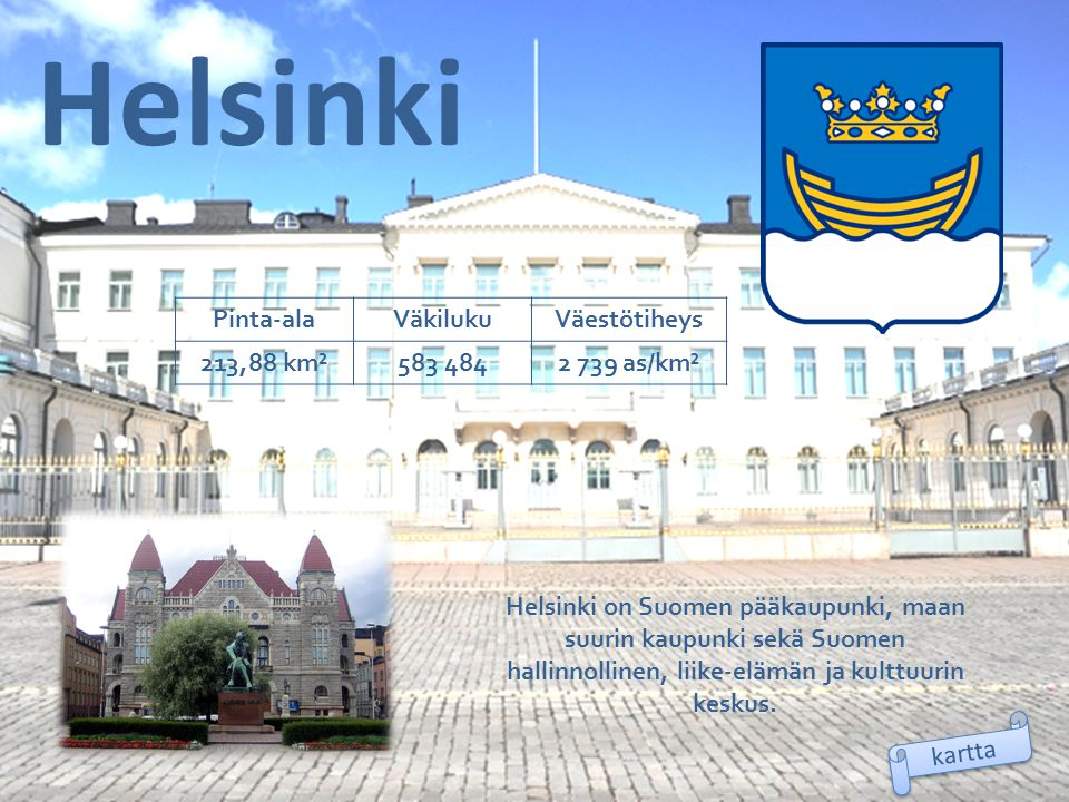 Helsinki Pinta-ala Väkiluku Väestötiheys 213,88 km² 583 484