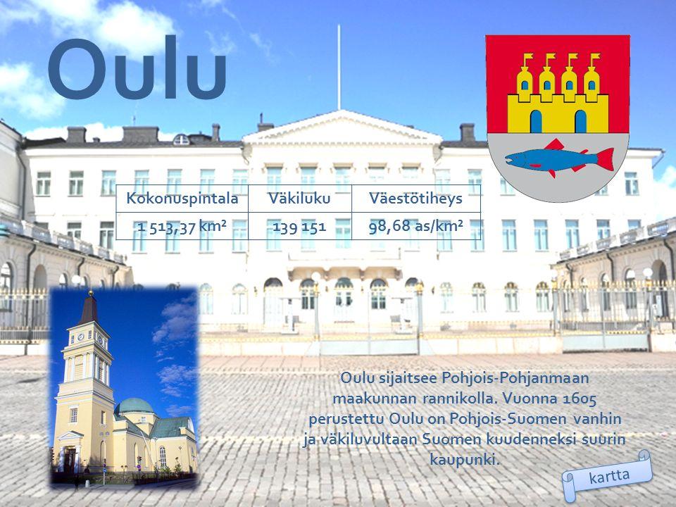 Oulu Kokonuspintala Väkiluku Väestötiheys 1 513,37 km² 139 151