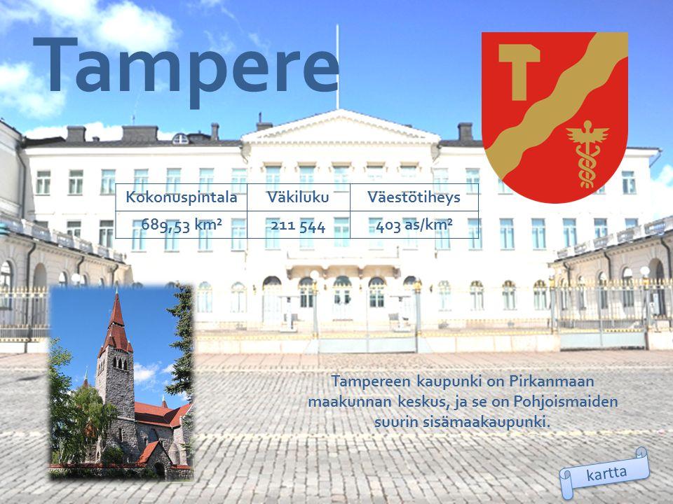 Tampere Kokonuspintala Väkiluku Väestötiheys 689,53 km² 211 544