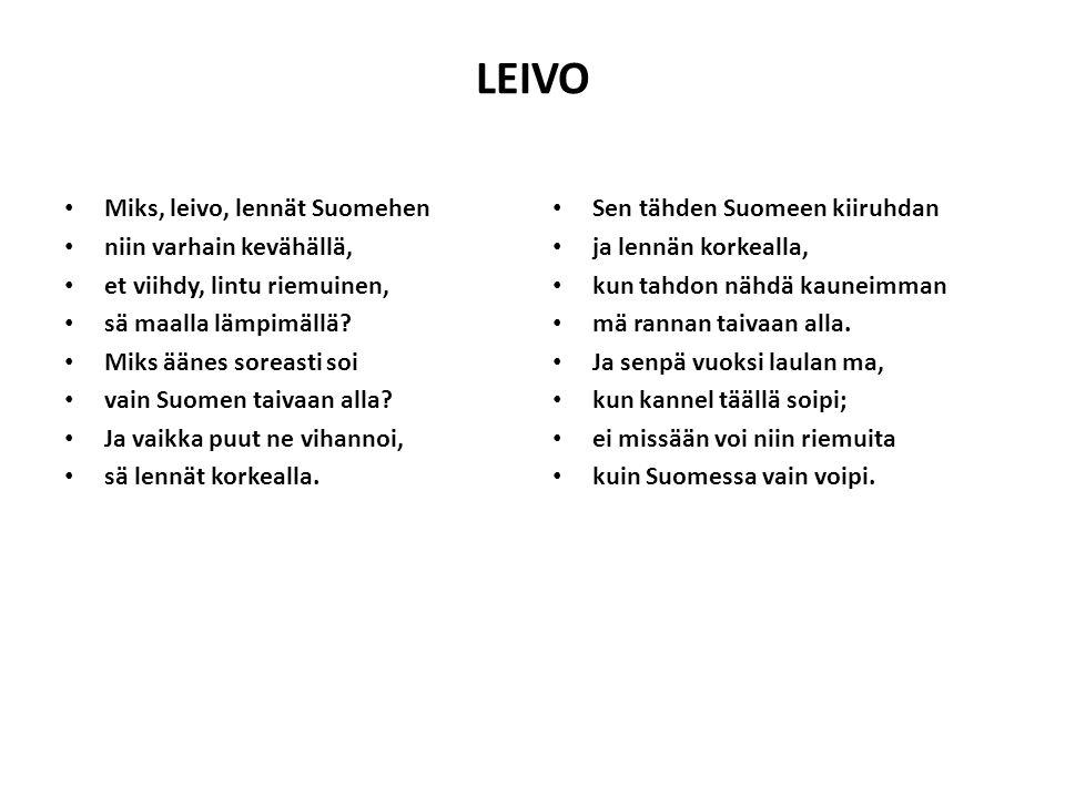 LEIVO Miks, leivo, lennät Suomehen niin varhain kevähällä,
