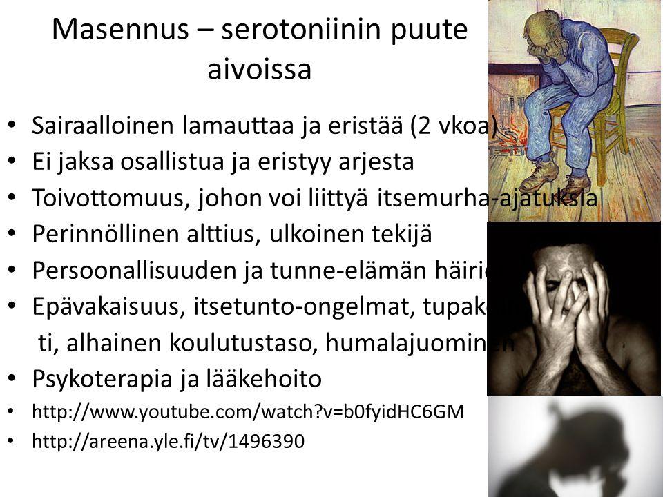 Masennus – serotoniinin puute aivoissa