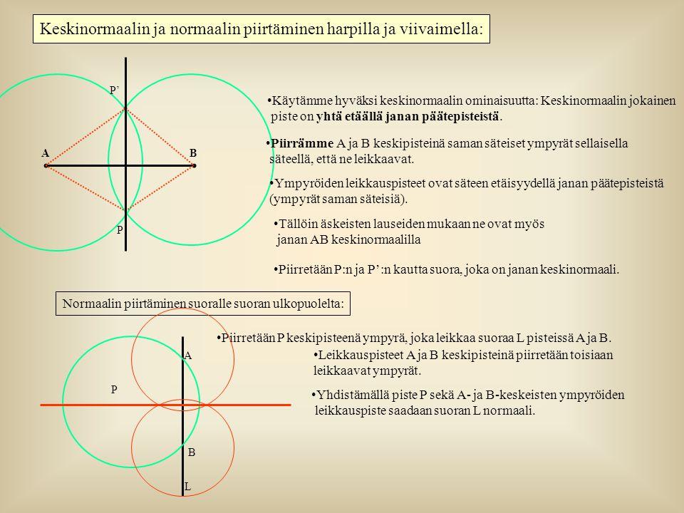 Keskinormaalin ja normaalin piirtäminen harpilla ja viivaimella:
