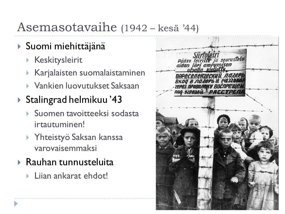 Asemasotavaihe (1942 – kesä '44)