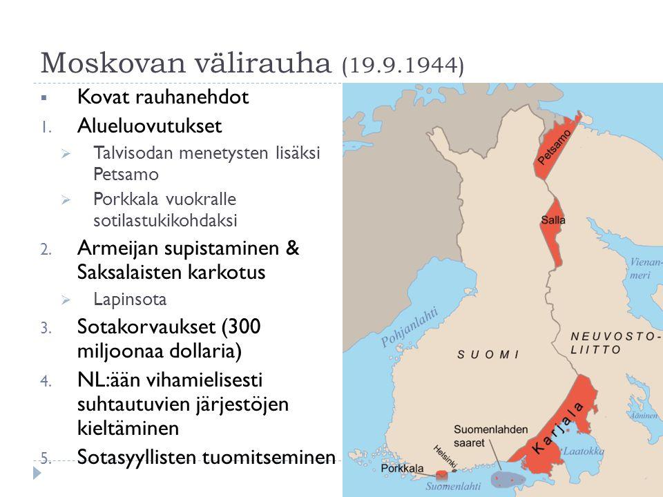 Moskovan välirauha (19.9.1944) Kovat rauhanehdot Alueluovutukset