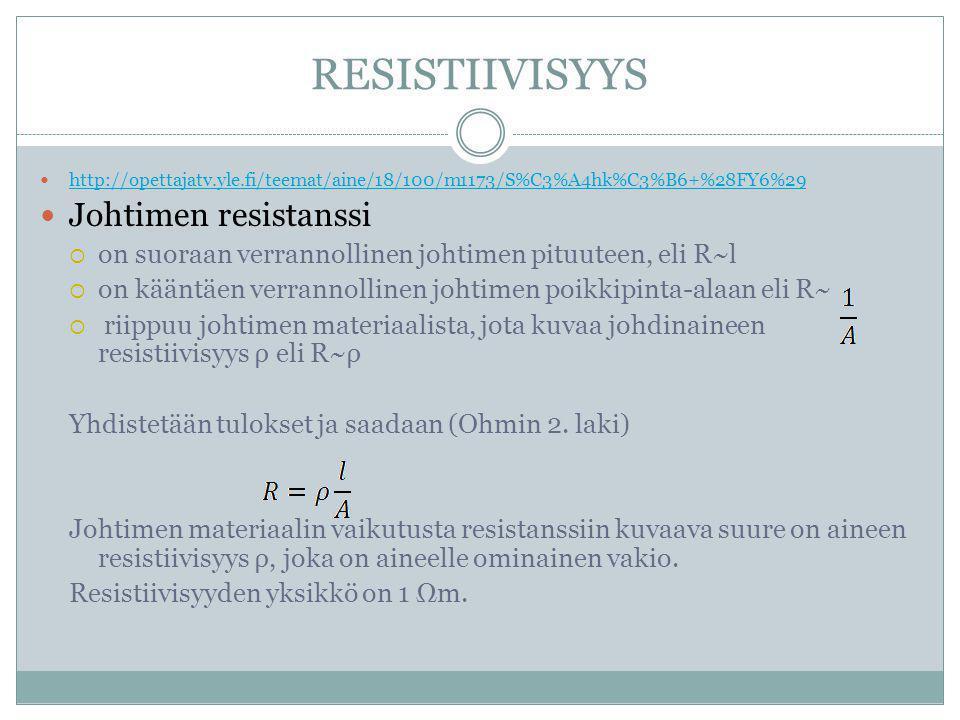 RESISTIIVISYYS Johtimen resistanssi