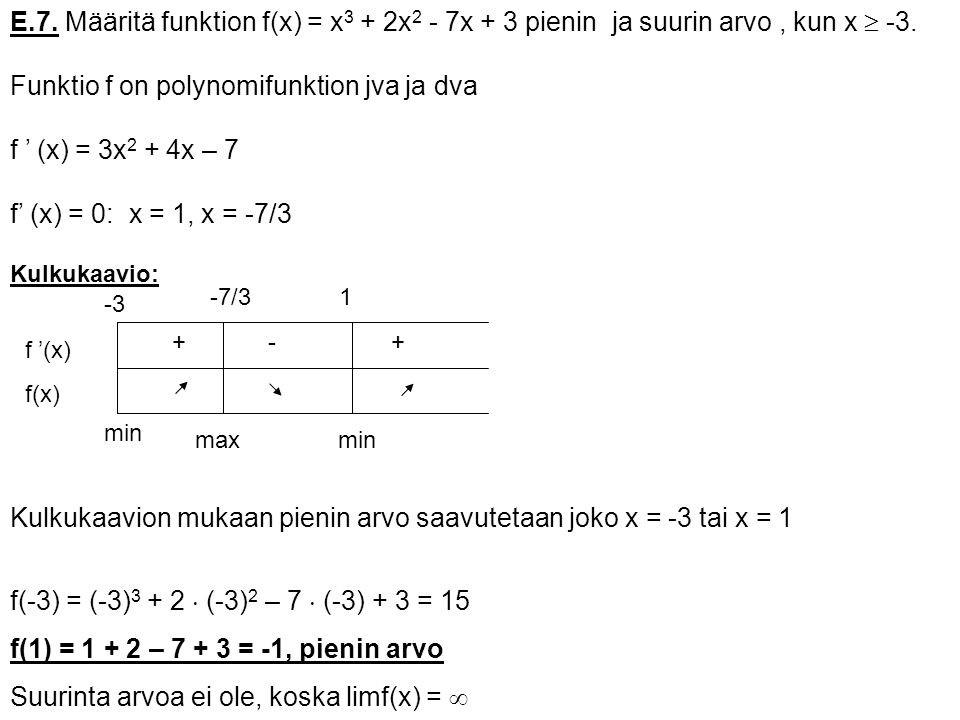 Funktio f on polynomifunktion jva ja dva f ' (x) = 3x2 + 4x – 7
