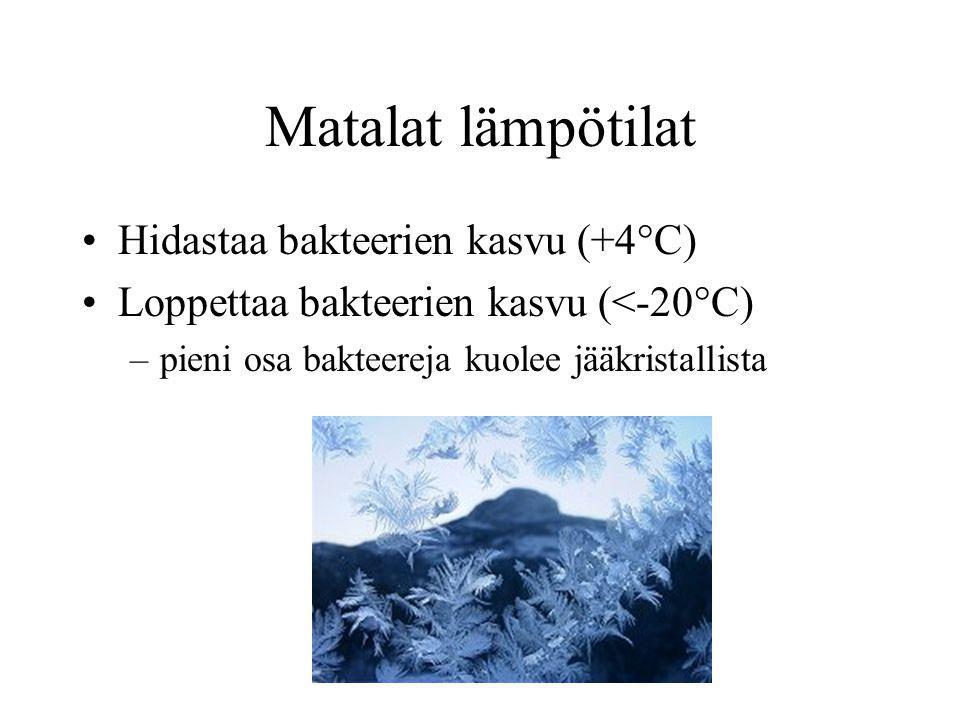 Matalat lämpötilat Hidastaa bakteerien kasvu (+4°C)